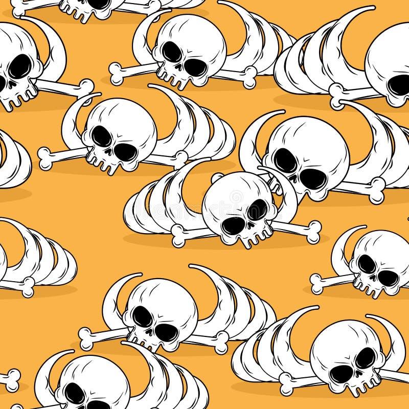 Teste padrão sem emenda do deserto inoperante Sobras do esqueleto no backgr da areia ilustração royalty free