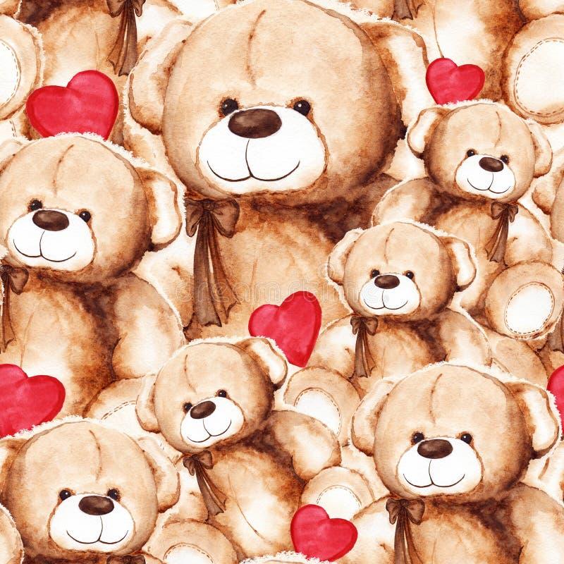 Teste padrão sem emenda do dia de Teddy Bear Saint Valentine bonito dos desenhos animados ilustração royalty free