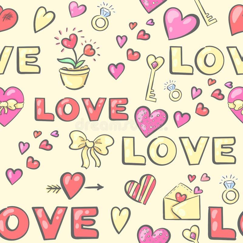 Teste padrão sem emenda do dia de Valentim com atributos do amor ilustração stock