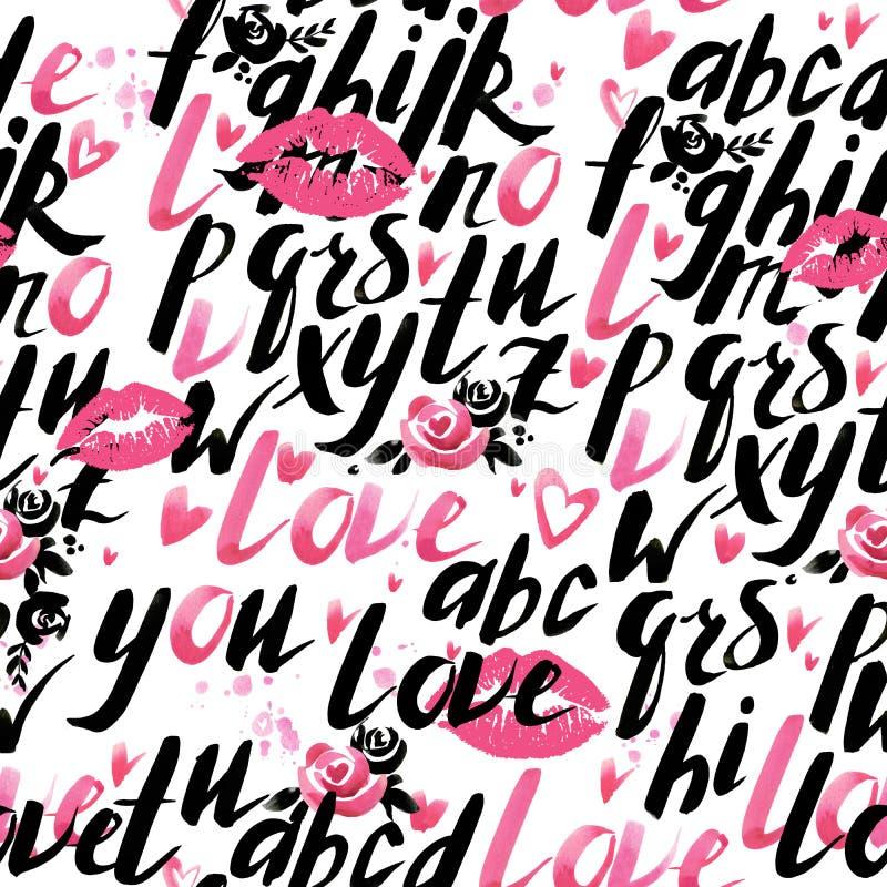 Teste padrão sem emenda do dia do Valentim Fundo do amor ilustração do vetor