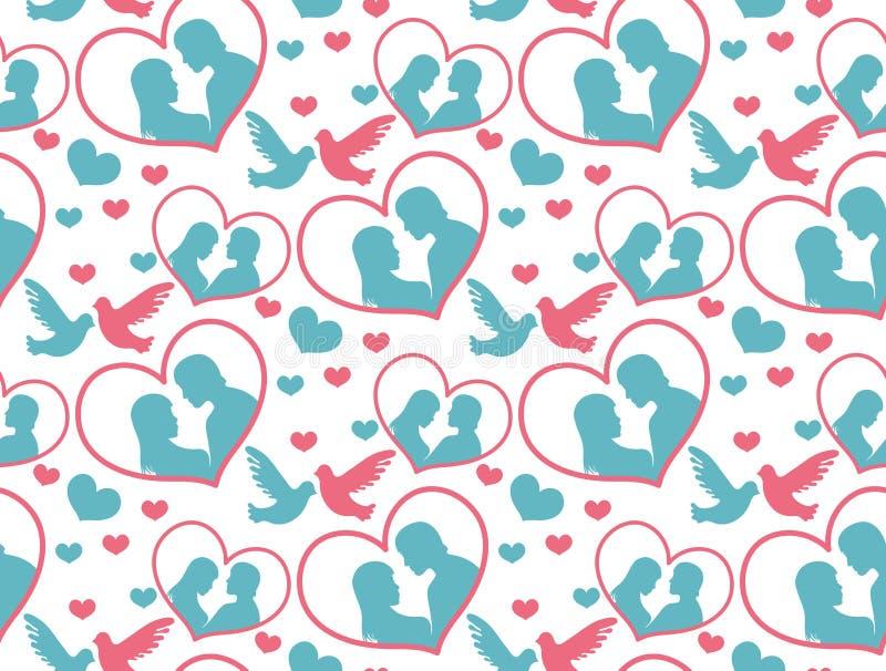 Teste padrão sem emenda do dia feliz do ` s do Valentim Fundo infinito do amor romântico bonito Coração que repete a textura Veto ilustração royalty free
