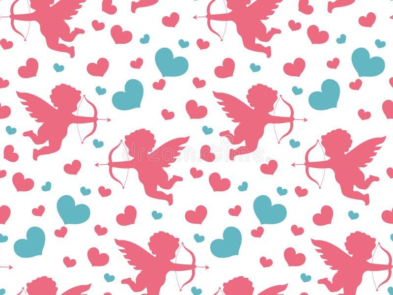 Teste padrão sem emenda do dia feliz do ` s do Valentim Fundo infinito do amor romântico bonito Cupido, coração que repete a text ilustração do vetor