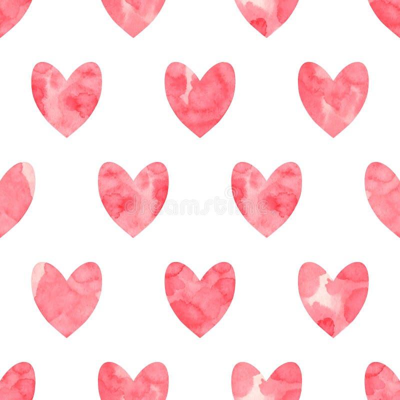 Teste padrão sem emenda do dia do ` s do Valentim Corações vermelhos da aquarela em um fundo branco Feito a mão, textura do grung ilustração stock