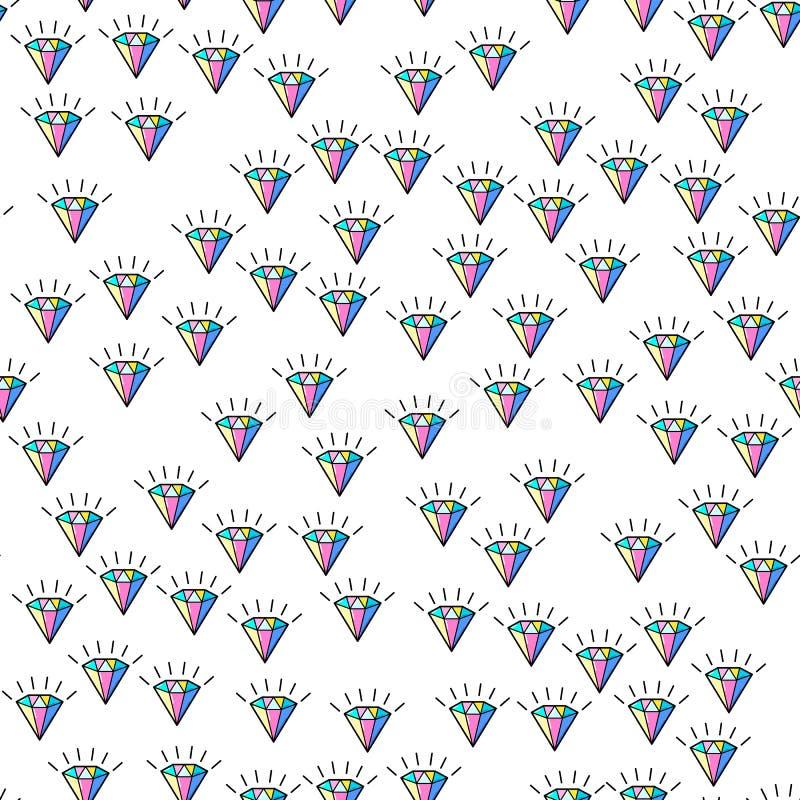 Teste padrão sem emenda do diamante colorido no fundo branco Projeto de papel da cópia Ilustração retro abstrata do vetor Matéria ilustração royalty free