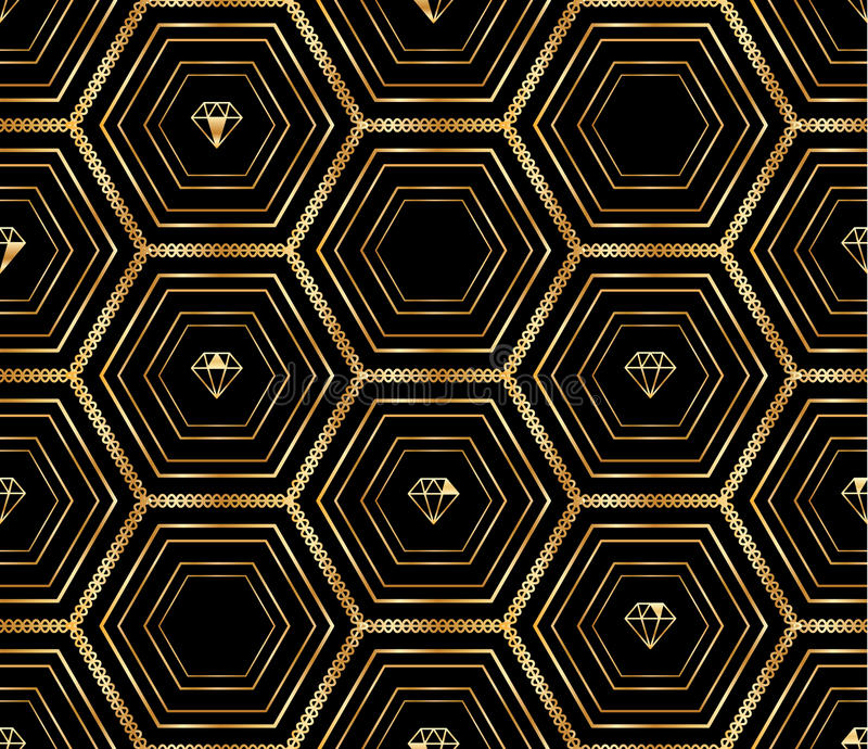 Teste padrão sem emenda do diamante dourado preto grande do hexágono ilustração do vetor