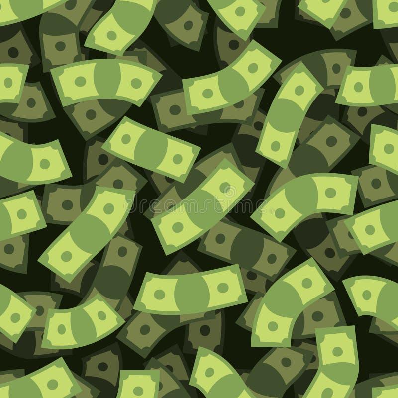 Teste padrão sem emenda do dinheiro Fundo do dinheiro Chuva do dinheiro ilustração stock
