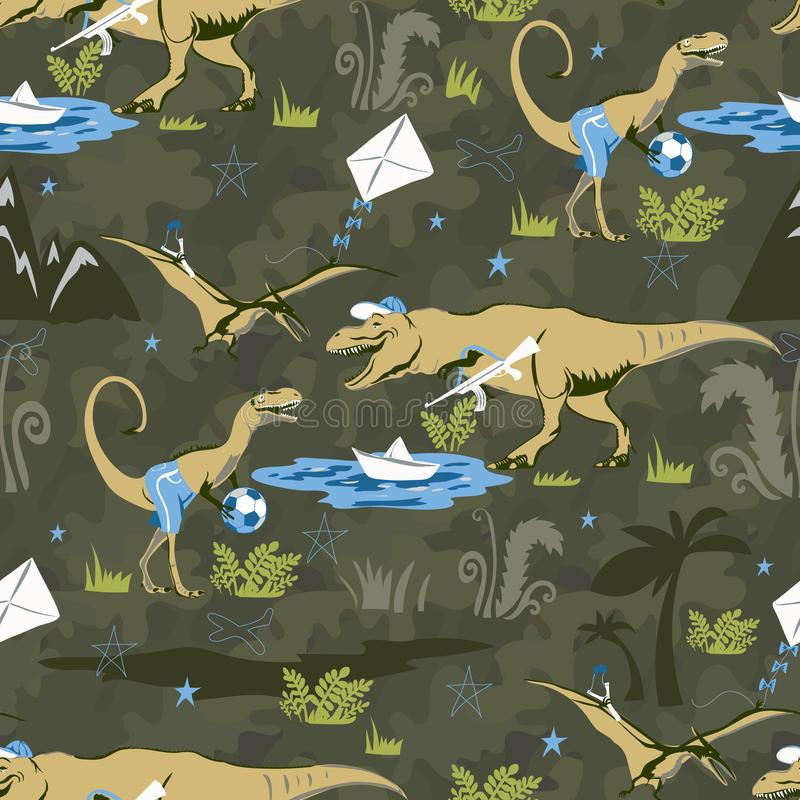 Teste padrão sem emenda do dinossauro do amante do jogo para a forma das crianças Fundo criançola com dinossauros bonitos imagem de stock