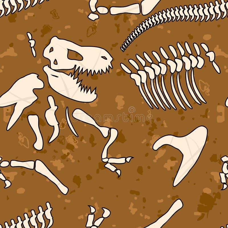 Teste padrão sem emenda do dinossauro fóssil Ossos do tiranossauro ilustração do vetor