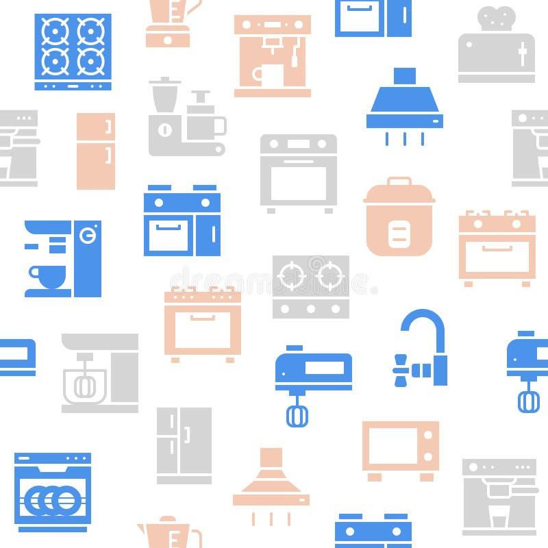 Teste padrão sem emenda do dispositivo de cozinha para o papel de parede ou o pap do envolvimento ilustração stock