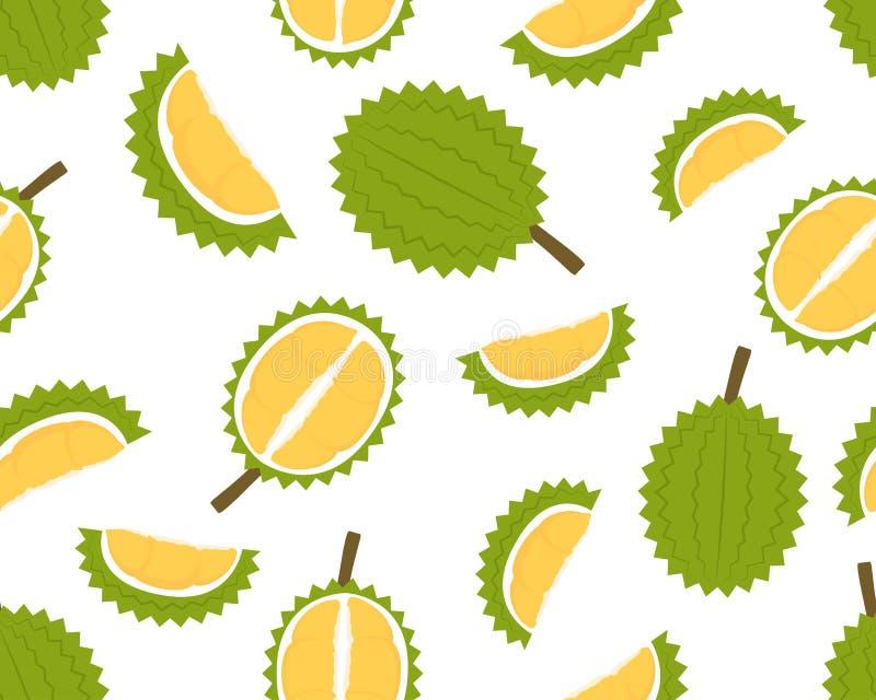 Teste padrão sem emenda do durian fresco isolado no fundo branco ilustração do vetor