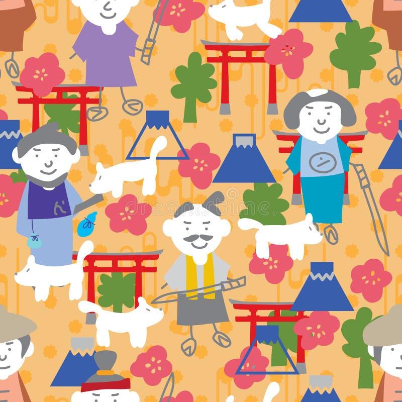 Teste padrão sem emenda do elemento japonês do homem de Japão ilustração do vetor