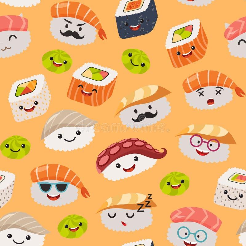 Teste padrão sem emenda do emoji do sushi, estilo dos desenhos animados ilustração do vetor