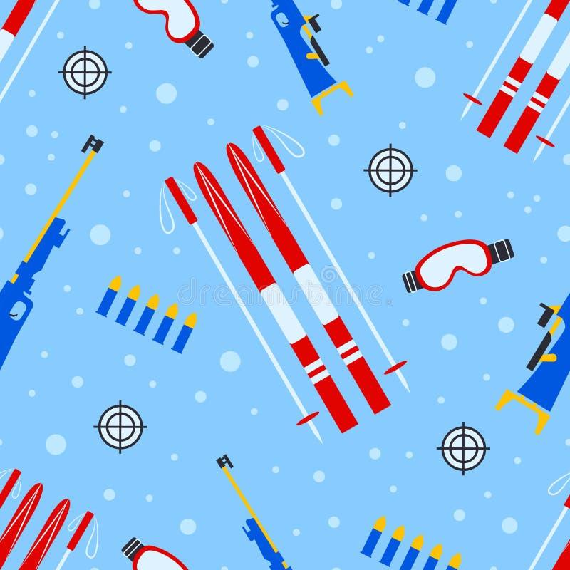 Teste padrão sem emenda do equipamento do Biathlon Ilustração do vetor Textura da repetição do ar livre do inverno Cópia do molde ilustração stock