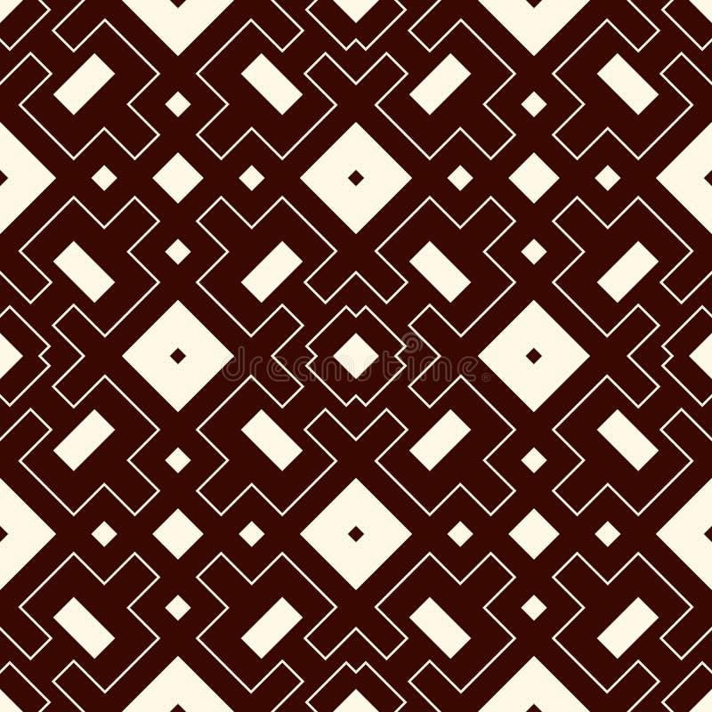 Teste padrão sem emenda do esboço com figuras geométricas Quadrados repetidos e fundo abstrato decorativo dos rombos ilustração stock
