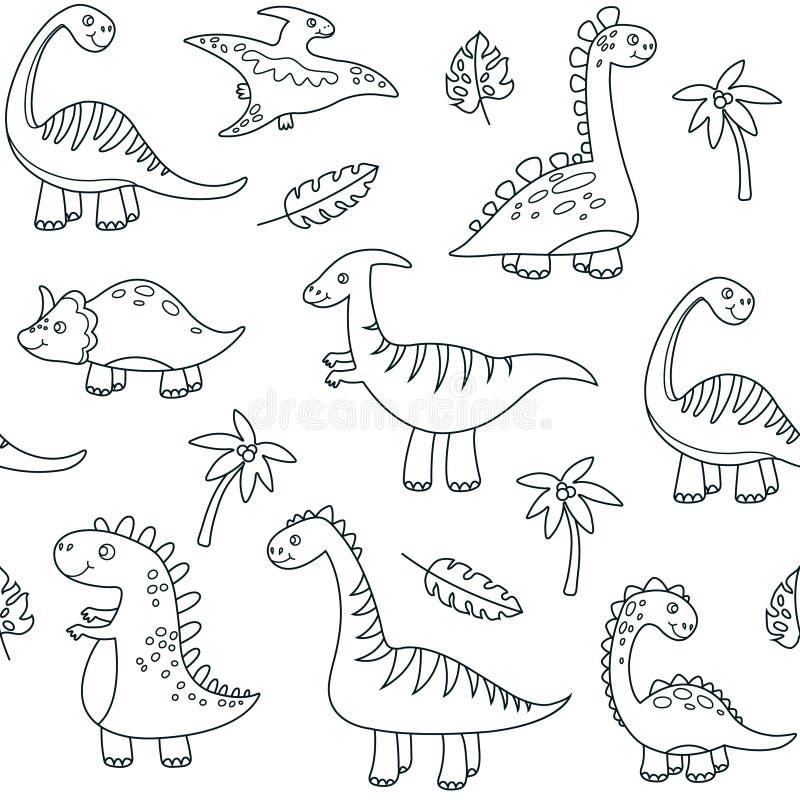 Teste padrão sem emenda do esboço do dinossauro Vetor jurássico dos dinossauros do dragão dos animais dos monstro engraçados boni ilustração stock