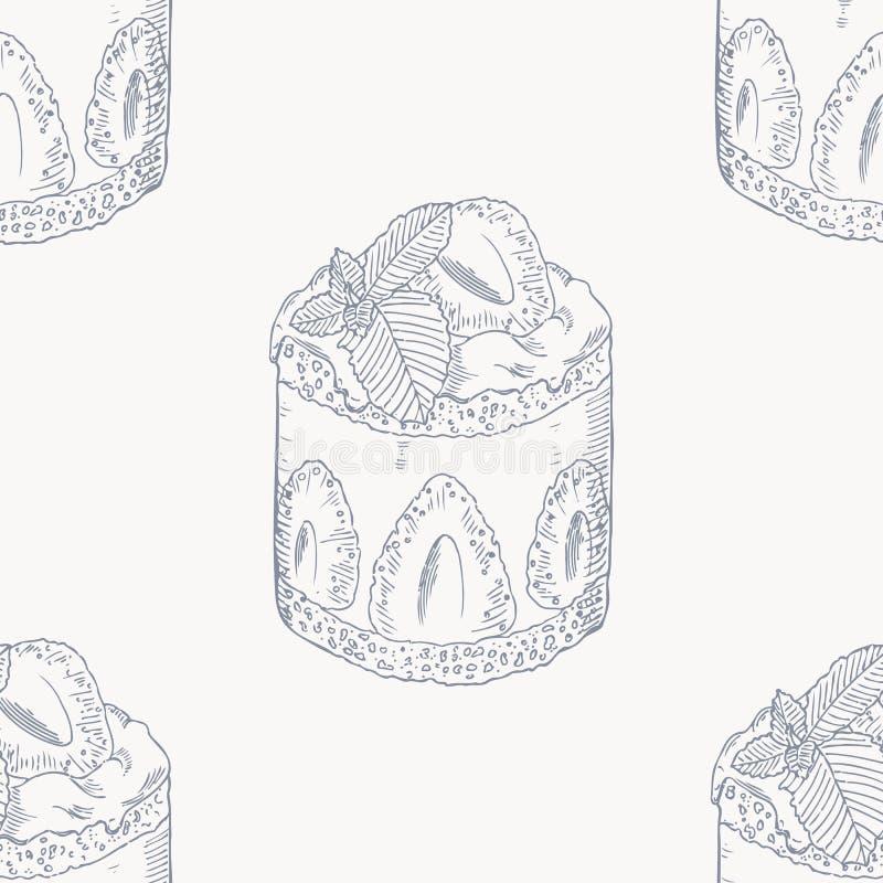 Teste padrão sem emenda do esboço do bolo do creme da morango ilustração royalty free