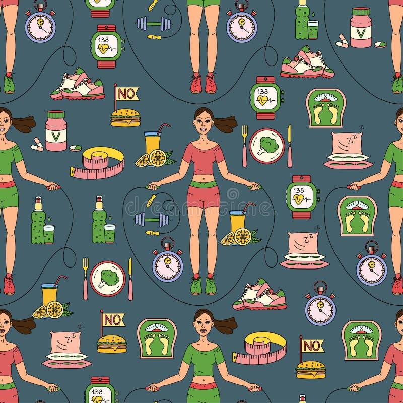 Teste padrão sem emenda do esporte Perda de peso, molde da dieta ilustração royalty free