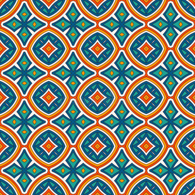 Teste padrão sem emenda do estilo étnico com motivo floral Fundo abstrato das cores brilhantes do vintage Ornamento tribal ilustração royalty free