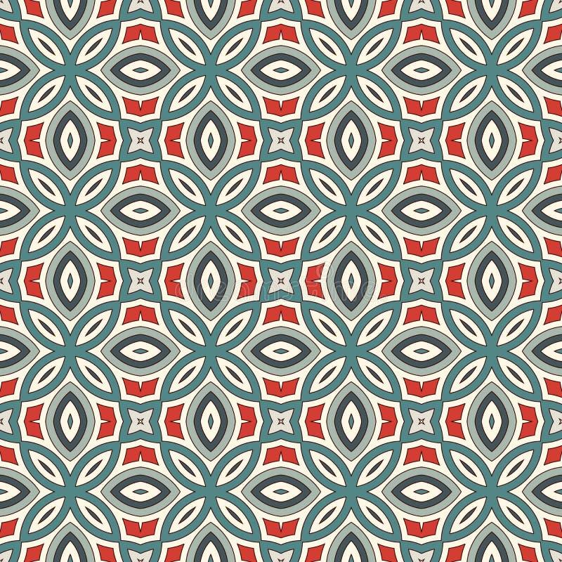 Teste padrão sem emenda do estilo étnico com motivo floral Fundo abstrato das cores pastel do vintage Ornamento tribal ilustração stock