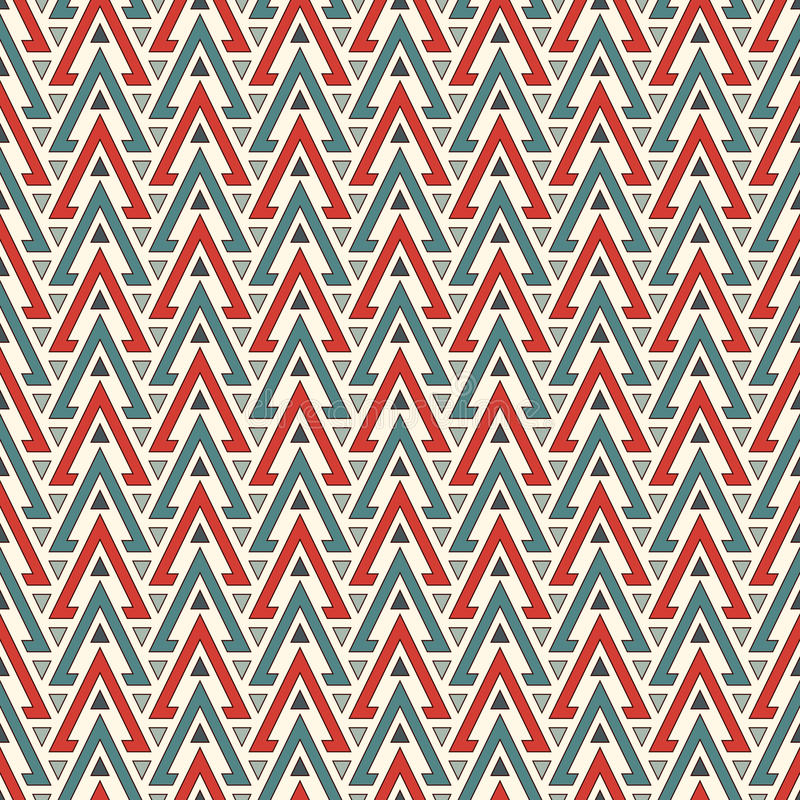 Teste padrão sem emenda do estilo étnico com triângulos repetidos Fundo abstrato decorativo dos nativos americanos Motivo tribal ilustração do vetor