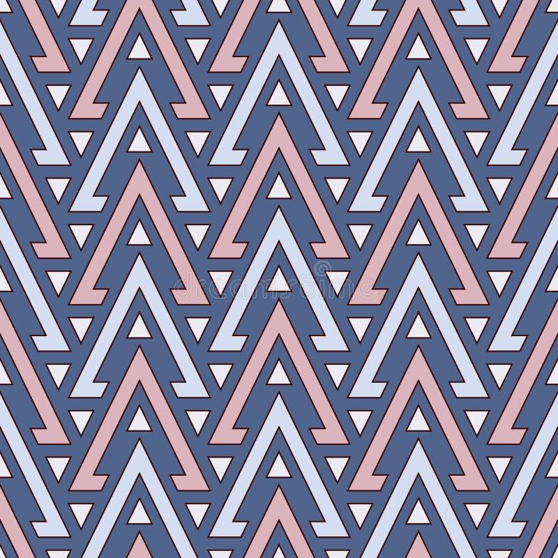 Teste padrão sem emenda do estilo étnico com triângulos repetidos Fundo abstrato decorativo dos nativos americanos Motivo tribal ilustração stock