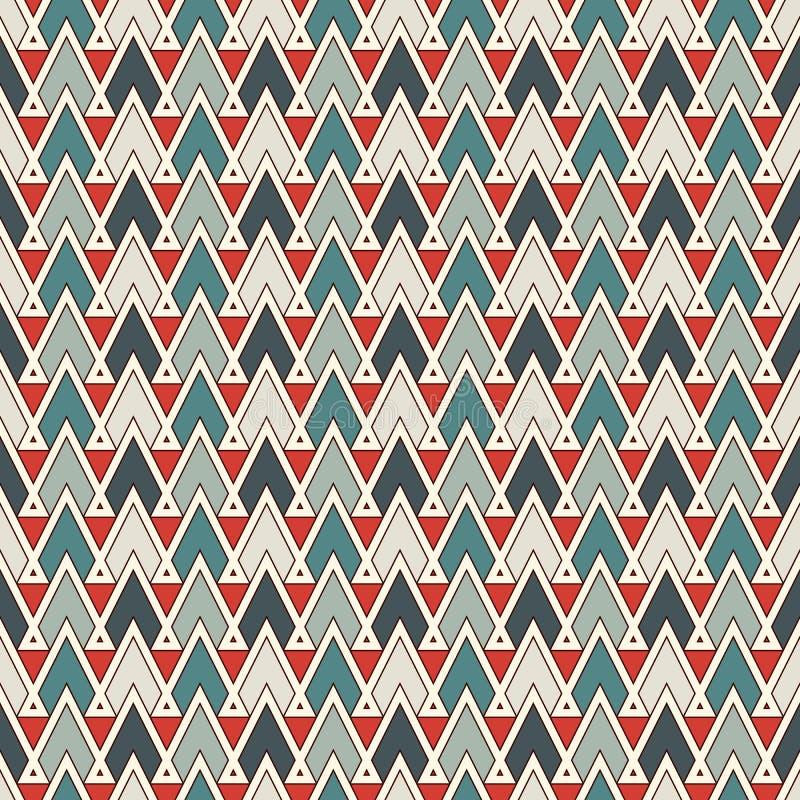 Teste padrão sem emenda do estilo étnico com triângulos repetidos Fundo abstrato decorativo dos nativos americanos Motivo tribal ilustração royalty free
