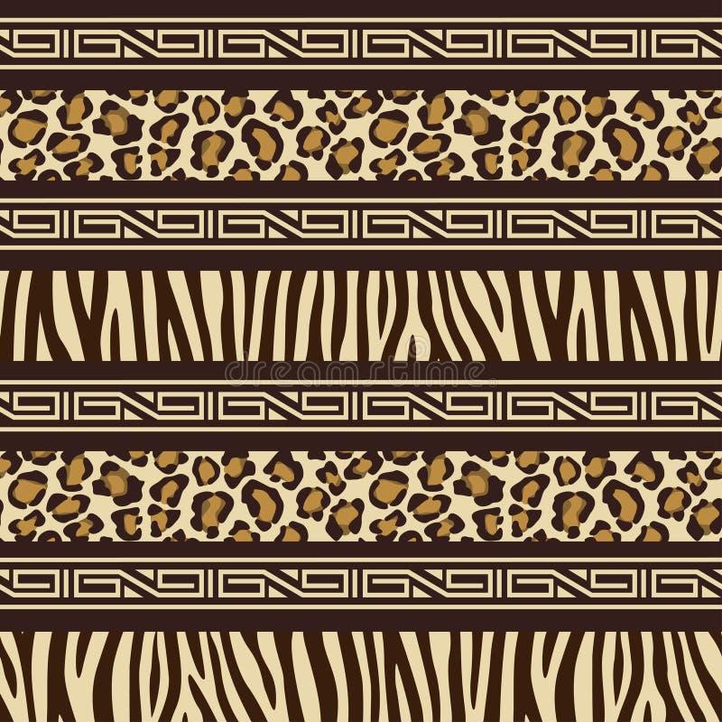 Teste padrão sem emenda do estilo africano com animais selvagens s ilustração do vetor