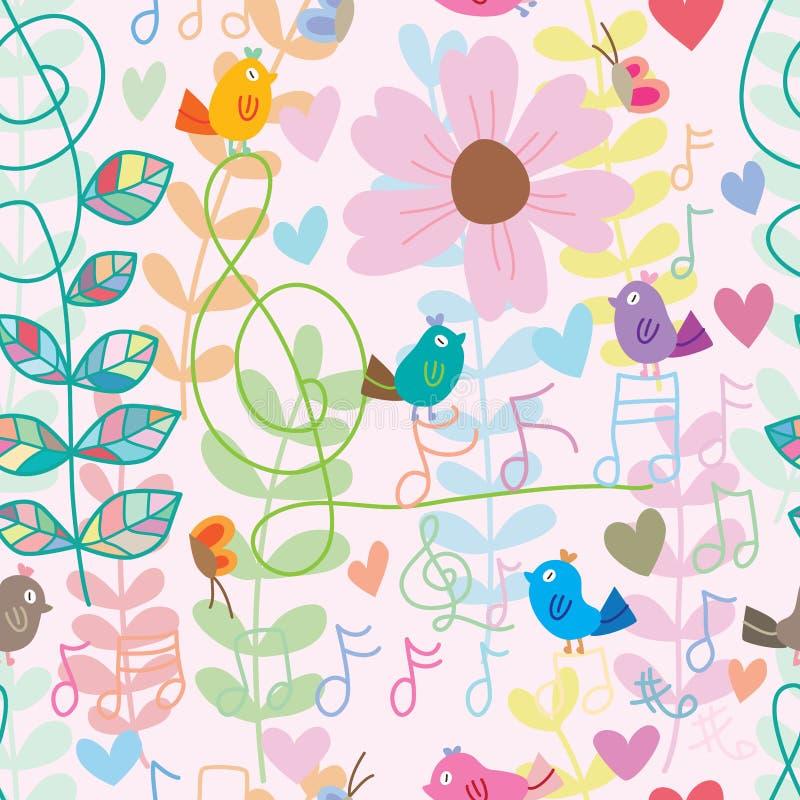 Teste padrão sem emenda do estilo colorido da nota da música do pássaro ilustração do vetor