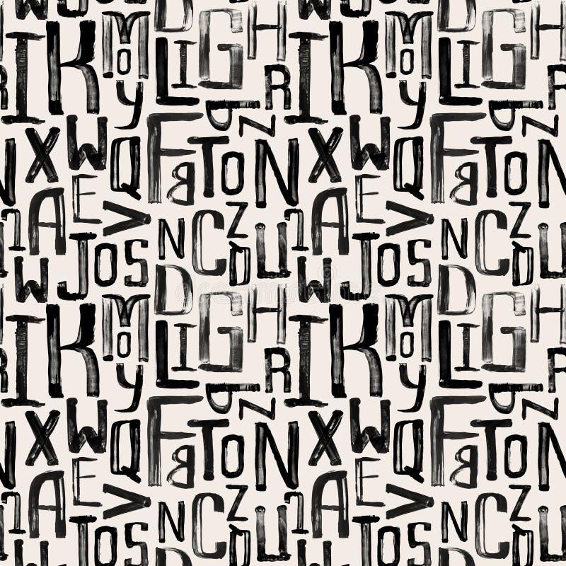 Teste padrão sem emenda do estilo do vintage, letras do grunge de aleatório ilustração stock