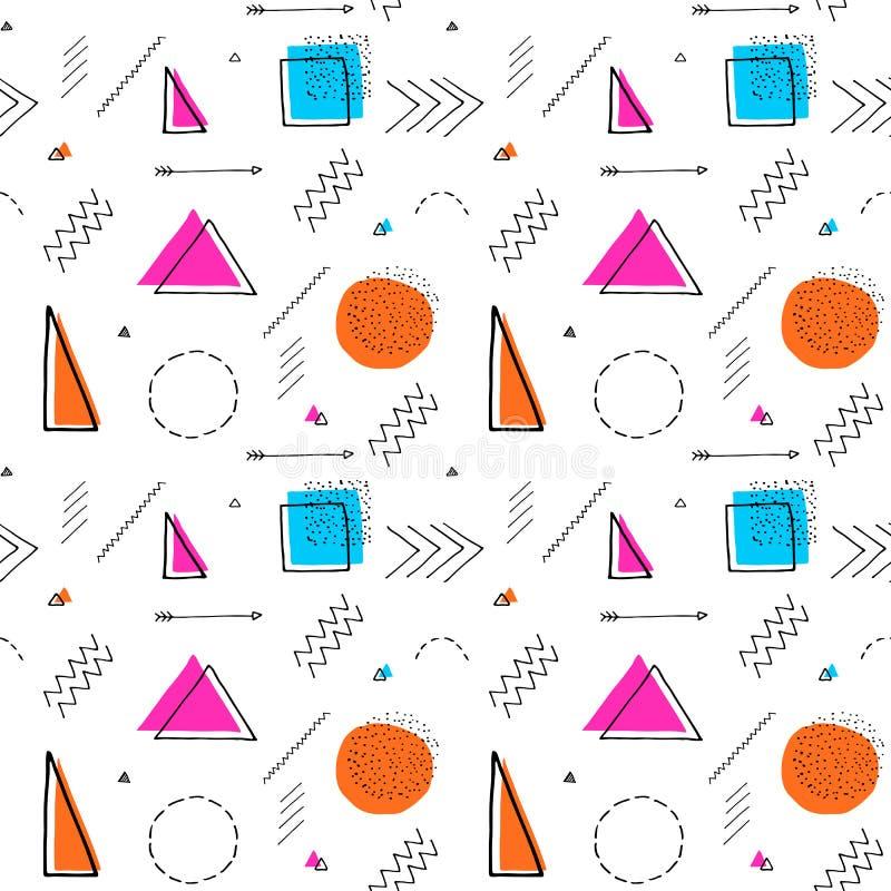 Teste padrão sem emenda do estilo geométrico do ` s do projeto 80 de Memphis Mão desenhada ilustração royalty free