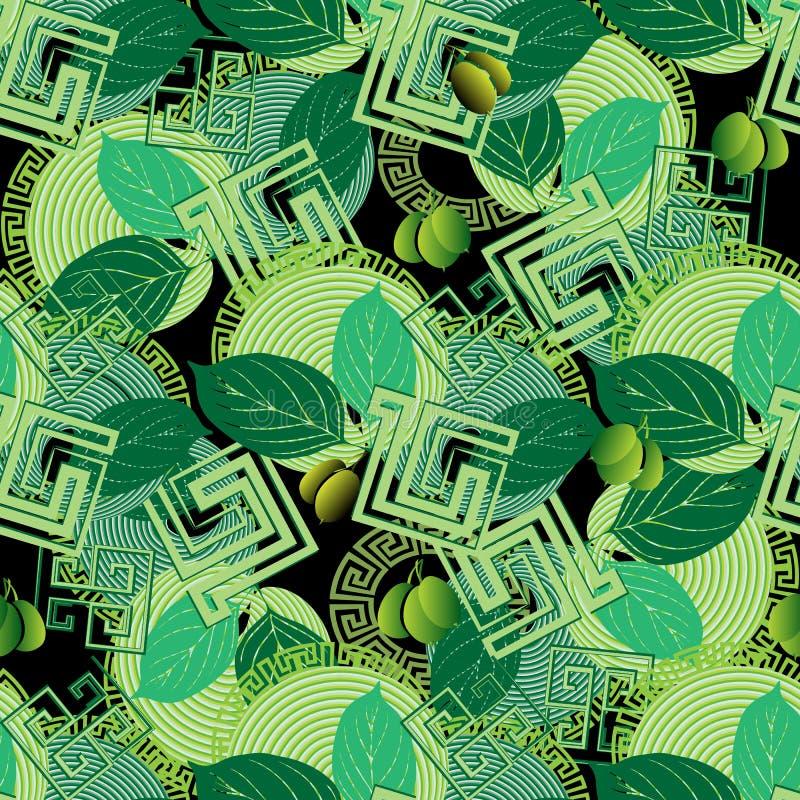 Teste padrão sem emenda do estilo grego floral das azeitonas verdes ilustração do vetor