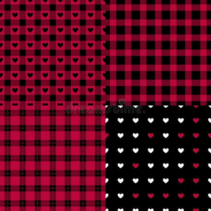 Teste padrão sem emenda do estilo masculino abstrato ajustado Paleta preta e vermelha quadriculado oriental da tendência Fundo da ilustração royalty free