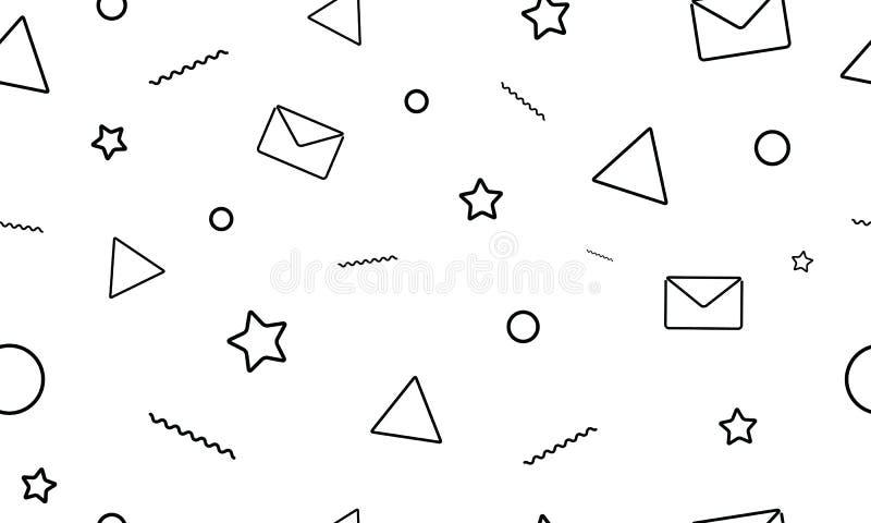 Teste padrão sem emenda do estilo minimalistic moderno no fundo branco Letras, email, estrelas e ícones do triângulo ilustração stock