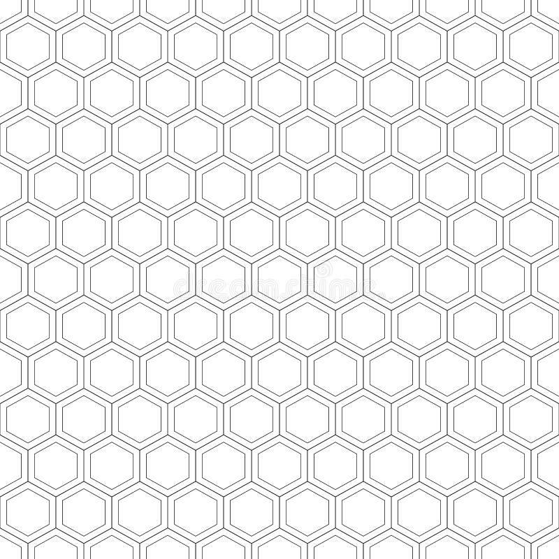 Teste padrão sem emenda do favo de mel Ilustração do vetor Textura sextavada Grade no branco ilustração royalty free