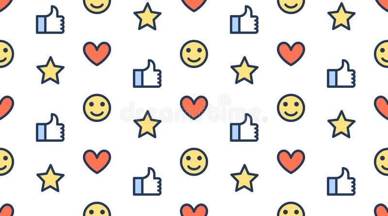 Teste padrão sem emenda do feedback com linha lisa ícones de polegares acima, como, estrela, cliente feliz Fundo simples para o c ilustração royalty free