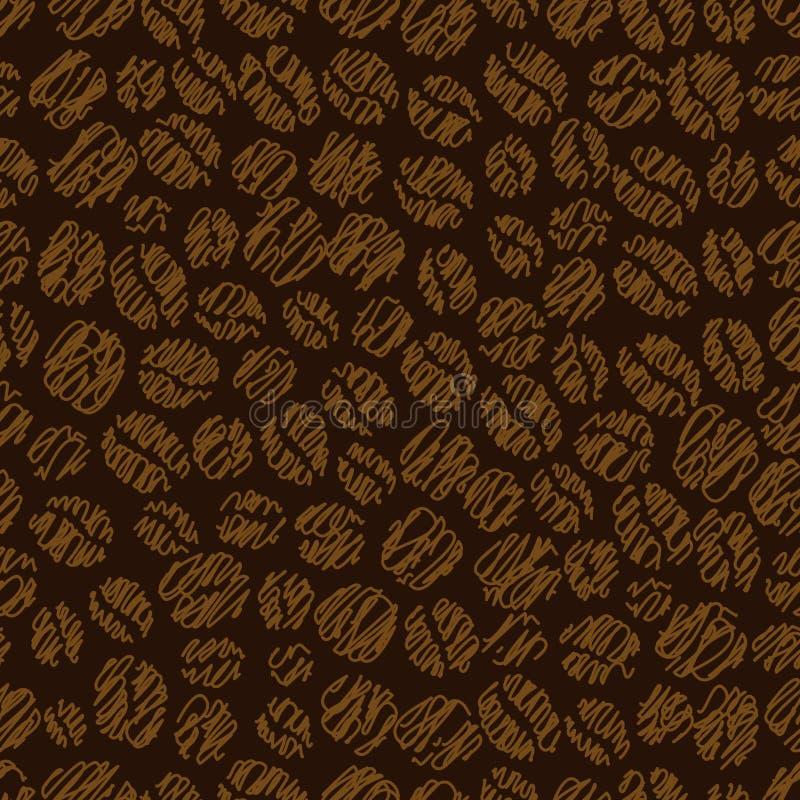 Teste padrão sem emenda do feijão de café ilustração stock
