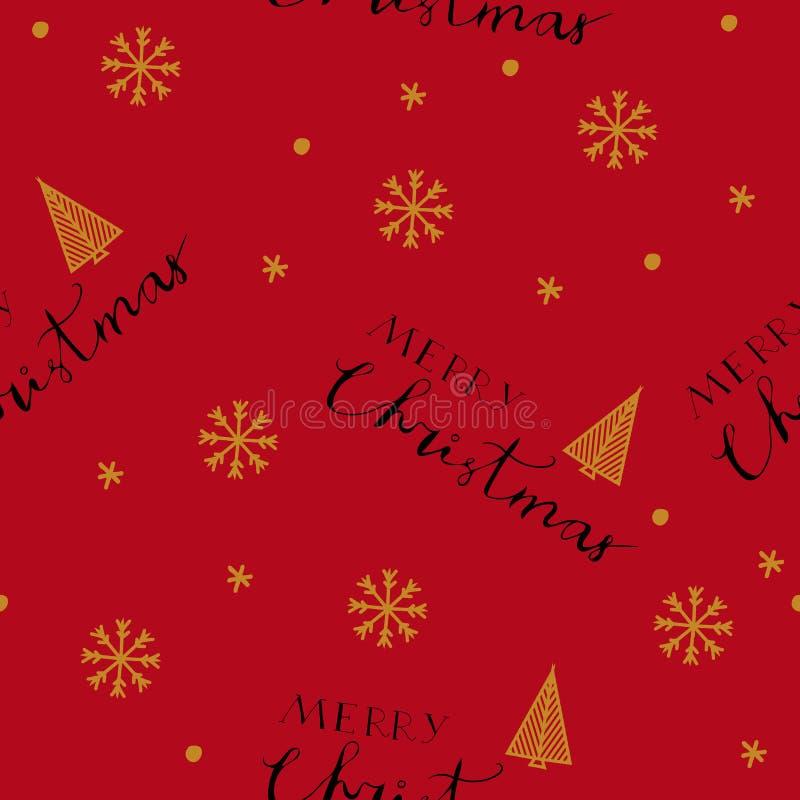 Teste padrão sem emenda do Feliz Natal com rotulação tirada mão ilustração royalty free