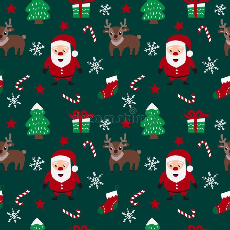 Teste padrão sem emenda do Feliz Natal com Santa Claus, os cervos, os flocos de neve, as estrelas, as árvores de Natal e os doces ilustração do vetor