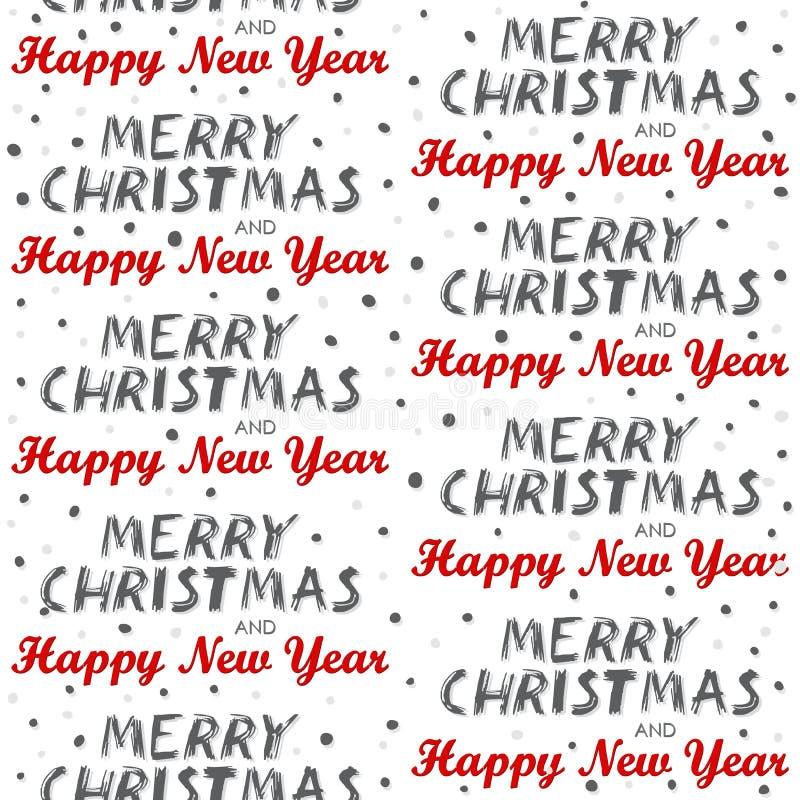 Teste padrão sem emenda do Feliz Natal e do ano novo feliz no branco ilustração stock