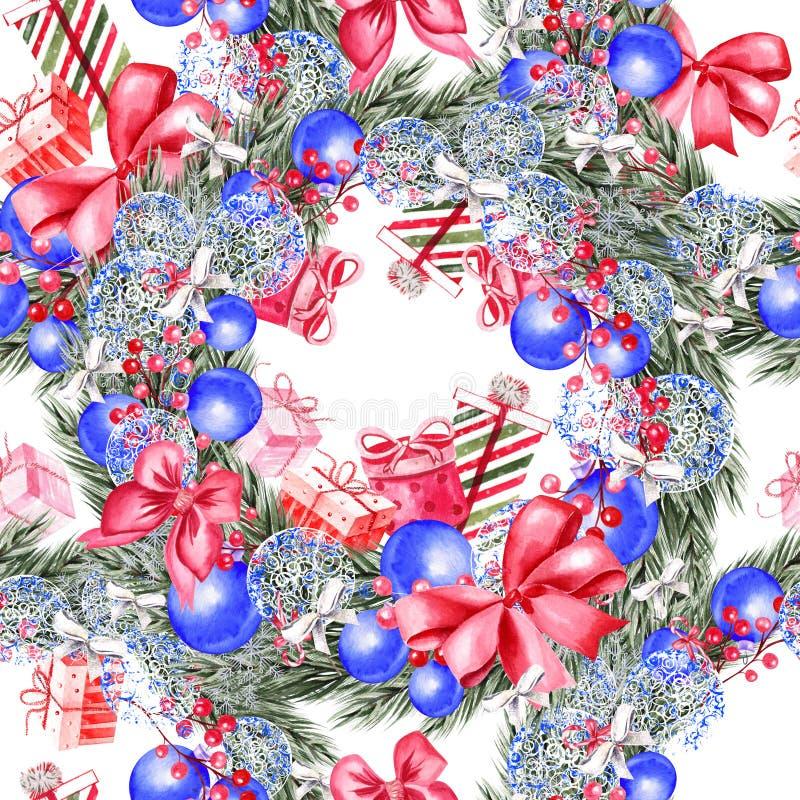 Teste padrão sem emenda do Feliz Natal pintado à mão com a árvore de Natal da aquarela, bolas de cores azuis, presentes e brinque ilustração royalty free