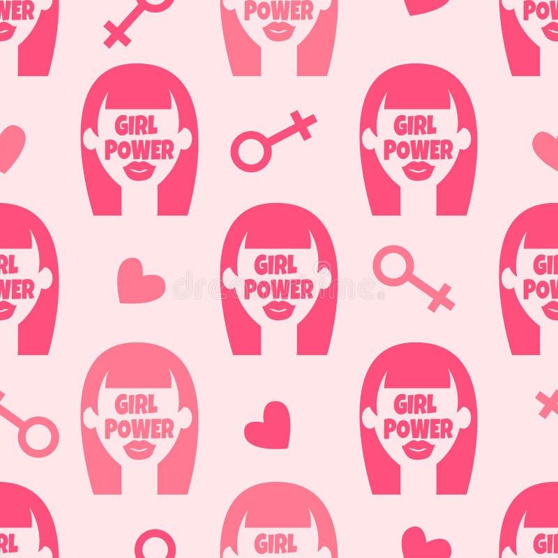 Teste padrão sem emenda do feminismo com a menina abstrata da cara ilustração royalty free