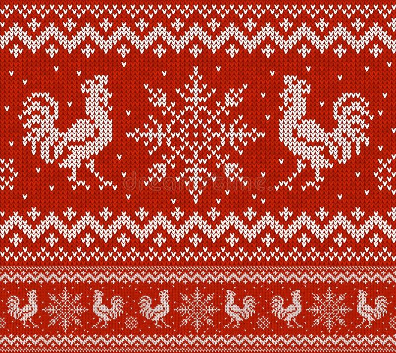 Teste padrão sem emenda do feriado vermelho com galos e os flocos de neve feitos malha Projeto de confecção de malhas do esquema  ilustração stock
