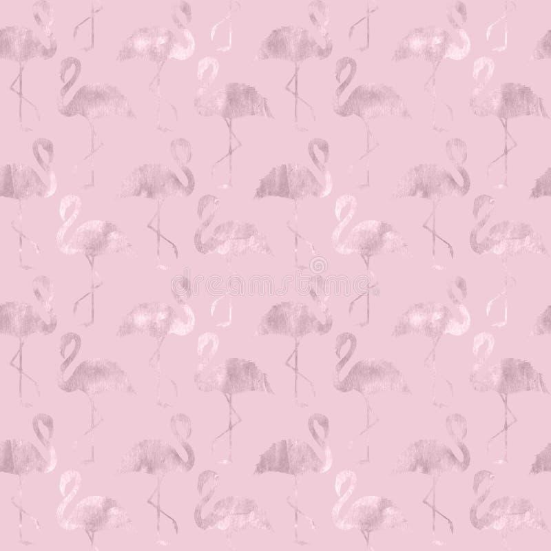 Teste padrão sem emenda do flamingo cor-de-rosa na moda do brilho do ouro ilustração stock