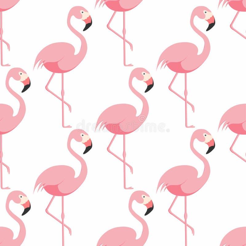 Teste padrão sem emenda do flamingo Flamingo cor-de-rosa que está em um pé Teste padrão tropical ilustração do vetor