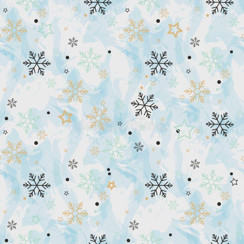 Teste padrão sem emenda do floco de neve Neve no fundo azul Papel de parede abstrato, envolvendo a decoração inverno do símbolo,  ilustração stock