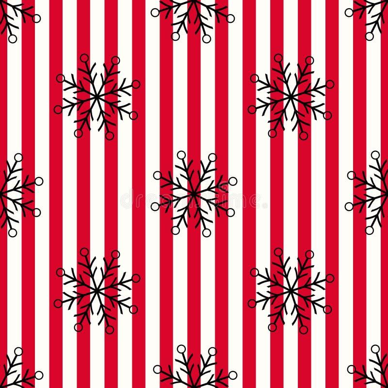 Teste padrão sem emenda do floco de neve preto do Natal Neve preta em linhas brancas vermelhas fundo Símbolo do papel de parede d ilustração royalty free