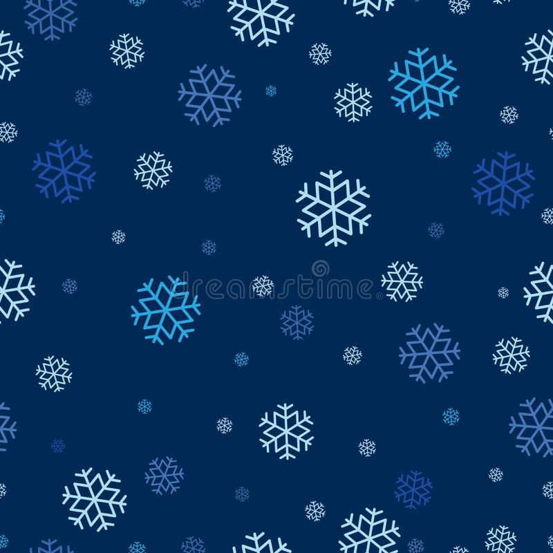 Teste padrão sem emenda do floco de neve repetível, fundo contínuo para o feriado, celebração do tema do Natal ilustração royalty free