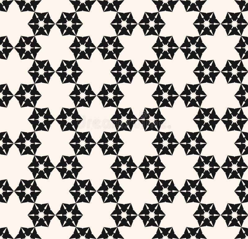 Teste padrão sem emenda do floco de neve Textura geométrica preto e branco abstrata do vetor ilustração do vetor