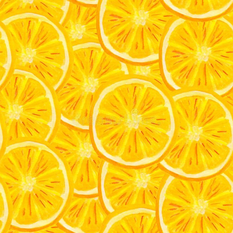 Teste padrão sem emenda do fruto alaranjado da aquarela O citrino pintado à mão corta o fundo para o empacotamento de alimento, e ilustração do vetor