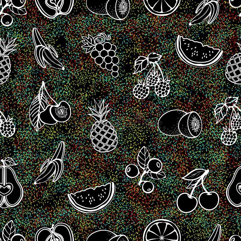Teste padrão sem emenda do fruto, fundo do vetor Frutos e bagas brancos do contorno em um fundo preto com textura multi-colorida  ilustração royalty free